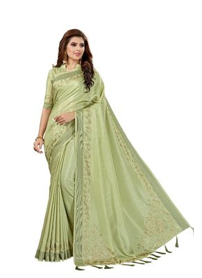 Green woven manipuri silk saree with blouse