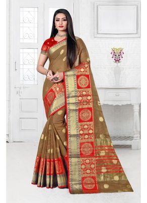 Light brown woven cotton silk saree with blouse