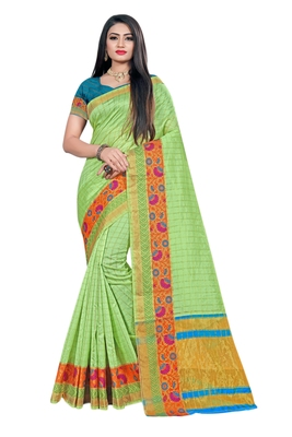 Light green woven organza saree with blouse