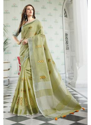 Light green embroidered linen saree with blouse