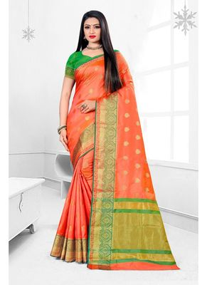 Light orange woven banarasi silk saree with blouse