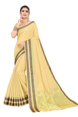 Light yellow printed cotton saree with blouse