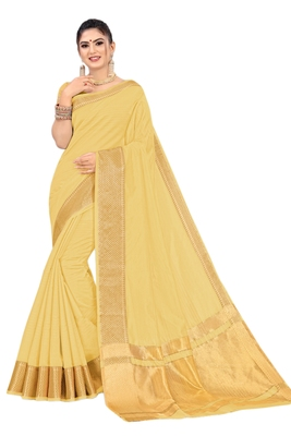 Light yellow woven organza saree with blouse