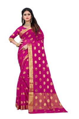 Magenta woven chiffon saree with blouse