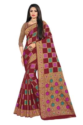 Maroon woven cotton silk saree with blouse