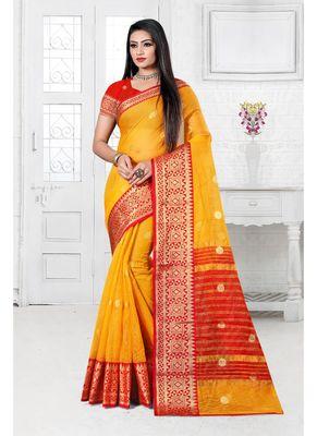 Mustard woven cotton silk saree with blouse