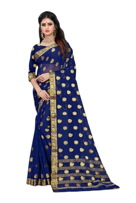 Navy blue woven chiffon saree with blouse