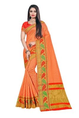 Orange woven organza saree with blouse