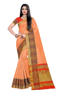 Orange woven organza saree with blouse