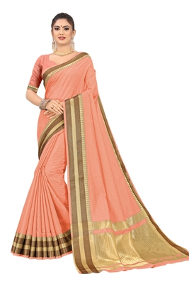 Peach printed cotton saree with blouse