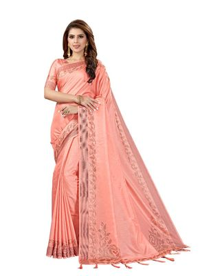 Peach woven manipuri silk saree with blouse