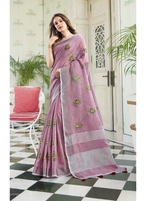 Pink embroidered linen saree with blouse