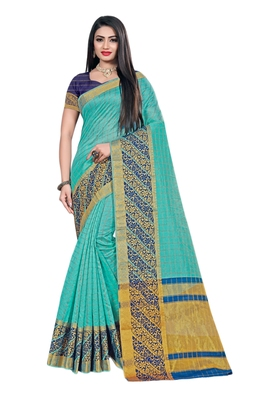 Sky blue woven organza saree with blouse