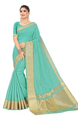 Sky blue woven organza saree with blouse