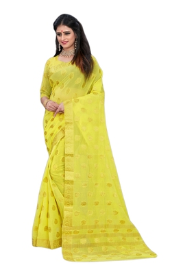 Yellow woven chiffon saree with blouse
