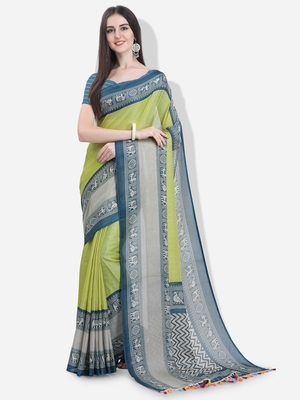 Light yellow printed linen saree with blouse