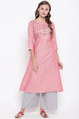 Light pink embroidered cotton cotton-kurtis