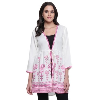 White printed viscose rayon tunics