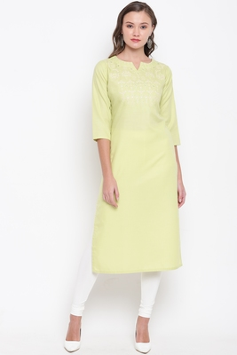 Parrot-green embroidered cotton cotton-kurtis