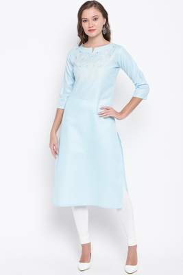 Sky blue embroidered cotton cotton-kurtis