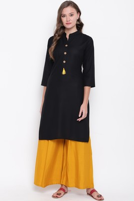 Black plain rayon ethnic-kurtis