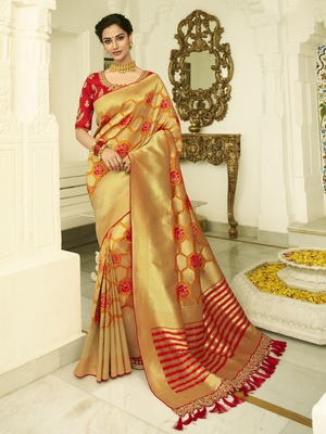 Mustard embroidered banarasi silk saree with blouse