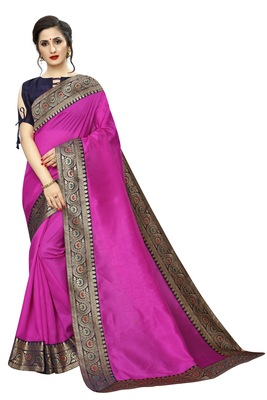 Pink plain art silk saree with blouse