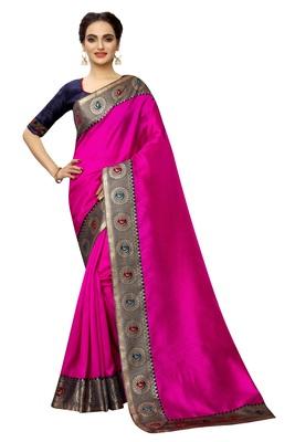 Pink plain art silk saree with blouse