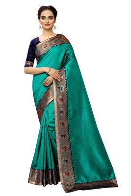 Turquoise plain art silk saree with blouse