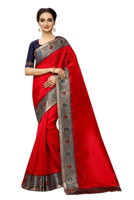 Red plain art silk saree with blouse