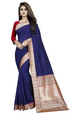 Navy blue woven art silk saree with blouse