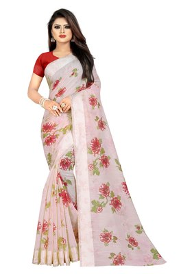 Off white woven linen saree with blouse