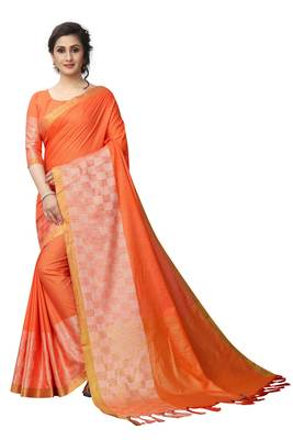Orange woven linen saree with blouse