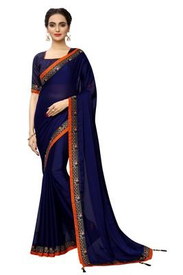 Navy_blue plain art silk saree with blouse