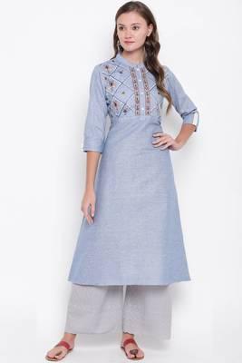 Lavender embroidered cotton cotton-kurtis