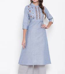 Lavender embroidered cotton cotton-kurtis