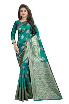 Turquoise woven banarasi silk saree with blouse