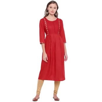 Red embroidered rayon ethnic-kurtis
