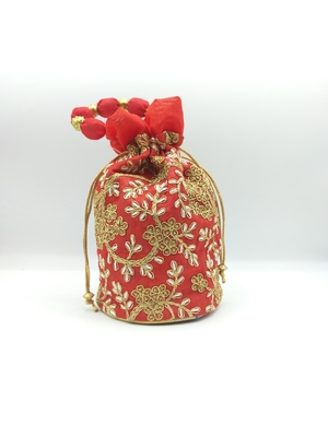 Core Classiques Red Embroidered Potli Bag