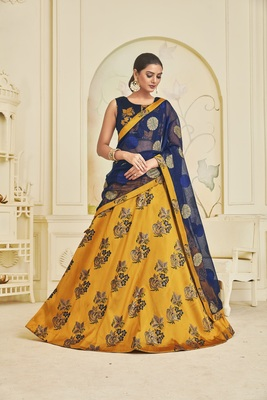 Heavy Embroidered Work UNSTITCHED LEHENGA Choli WITH BLOUSE