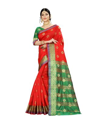 Women's red Pure Banarasi silk Designer Saree with Wovan Design
