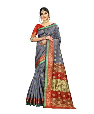 Women's grey Pure Banarasi silk Designer Saree with Wovan Design