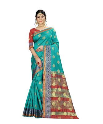 Women's turquoise Pure Banarasi silk Designer Saree with Wovan Design