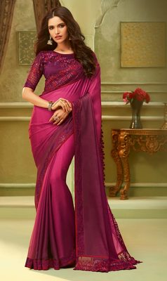 Purple embroidered satin saree with blouse
