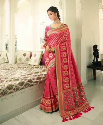 Pink embroidered banarasi silk saree with blouse