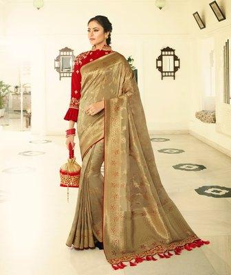 Golden embroidered banarasi silk saree with blouse