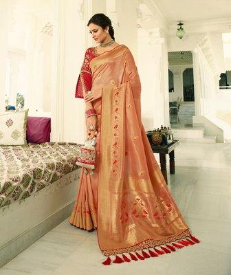 Peach embroidered banarasi silk saree with blouse