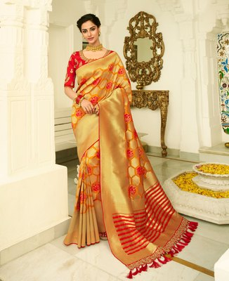 Mustard embroidered banarasi silk saree with blouse