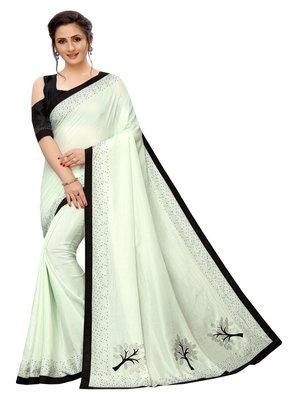 Light green plain art silk saree with blouse