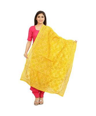 Yellow Chanderi Phulkari Dupatta